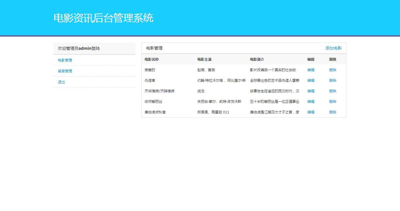 后台电影管理页面